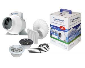 Monsoon Turbo Mixed Flow Inline Shower Fan Kit