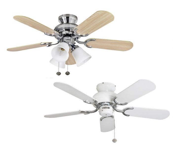 Fantasia Capri Ceiling Fans 36 White Stainless Steel Light Remote Pullcord