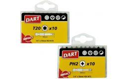"""Dart Impact Driver Bit Individual Packs of 10 Anti Slip Bits 1/4"""" 50mm"""