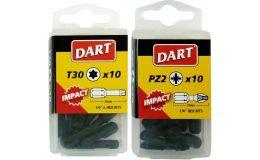 """Dart Impact Driver Bit Individual Packs of 10 Anti Slip Bits 1/4"""" 25mm"""