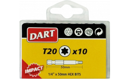 "Dart Impact Torx T20 Driver Bit Individual Packs of 10 Anti Slip Bits 1/4"" 50mm"
