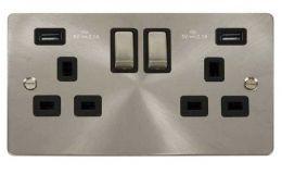 Click Define Brushed Steel 13A 2G Sw Socket with Twin 2.1A USB Outlets Black Trim Ingot