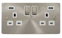 Click Define Brushed Steel 13A 2G Sw Socket with Twin 2.1A USB Outlets White Trim Ingot