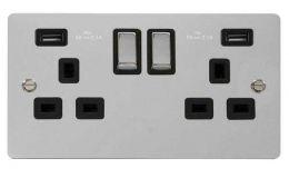 Click Define Polished Chrome 13A 2G Sw Socket with Twin 2.1A USB Outlets Black Trim Ingot