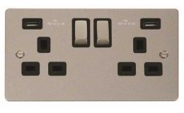 Click Define Pearl Nickel 13A 2G Sw Socket with Twin 2.1A USB Outlets Black Trim Ingot