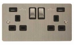 Click Define Stainless Steel 13A 2G Sw Socket with Twin 2.1A USB Outlets Black Trim Ingot