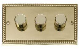 Click Deco 3 Gang 2 Way 400Va Dimmer Switch Georgian Cast Brass