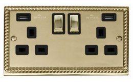 Click Deco Georgian Brass 13A 2G Sw Socket with Twin 2.1A USB Outlets Black Trim Ingot