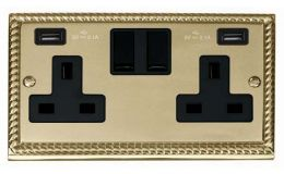 Click Deco Georgian Brass 13A 2G Sw Socket with Twin 2.1A USB Outlets Black Inserts