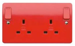 MK 13A 2G DP Switch Socket Out Rocker + Neons