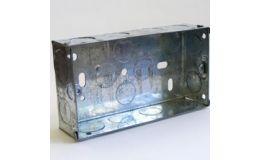 2 Gang 35mm Steel Galvanised KO Box
