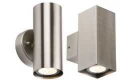 Knightsbridge Up/ Down Stainless Steel Wall Lights Round or Square IP20