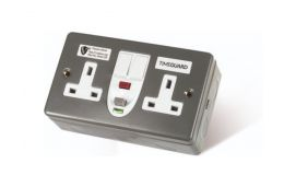 Timeguard RCD Double Metal Socket Passive Switched