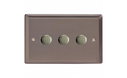 Varilight V-Pro Classic Twin Plate 3 x 300W 2 Way Trailing Edge Dimmer in Pewter