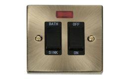 Click Deco 20A DP Sink/Bath Switch Black Victorian Ant Brass