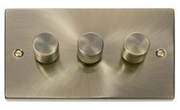 Click Deco 3 Gang 2 Way 400Va Dimmer Switch Victorian Ant Brass