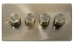 Click Deco 4 Gang 2 Way 400Va Dimmer Switch Victorian Ant Brass