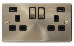 Click Deco Antique Brass 13A 2G Sw Socket with Twin 2.1A USB Outlets Black Trim Ingot