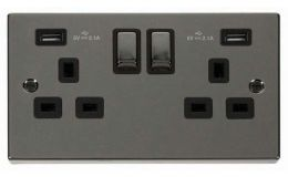 Click Deco Black Nickel 13A 2G Sw Socket with Twin 2.1A USB Outlets Black Trim Ingot