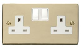 Click Deco 2 Gang 13A DP Switched Socket White Victorian Pol Brass
