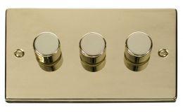 Click Deco 3 Gang 2 Way 400Va Dimmer Switch Victorian Pol Brass
