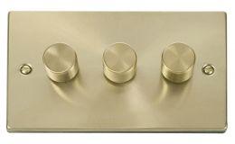 Click Deco 3 Gang 2 Way 400Va Dimmer Switch Victorian Sat Brass