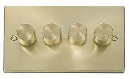 Click Deco 4 Gang 2 Way 400Va Dimmer Switch Victorian Sat Brass