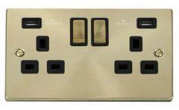 Click Deco Satin Brass 13A 2G Sw Socket with Twin 2.1A USB Outlets Black Trim Ingot