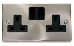 Click Deco 2 Gang 13A DP Switched Socket Black Victorian Sat Chrome