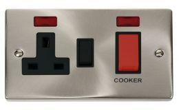 Click Deco 45A DP Switch + Sw Socket & Neons Black Victorian Sat Chrome