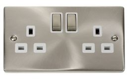 Click Deco 2 Gang 13A DP Ingot Switched Socket White Victorian Sat Chrome