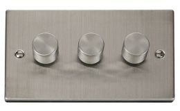 Click Deco 3 Gang 2 Way 400Va Dimmer Switch Victorian St Steel