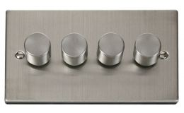 Click Deco 4 Gang 2 Way 400Va Dimmer Switch Victorian St Steel