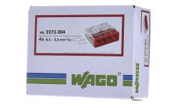 Wago Compact Push Wire Connectors for Junction Boxes 4 Conductor Red Terminal 100